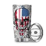 Tazza in acciaio inox con teschio con bandiera americana, con coperchio scorrevole a prova di spruzzi, bianco 600 ml