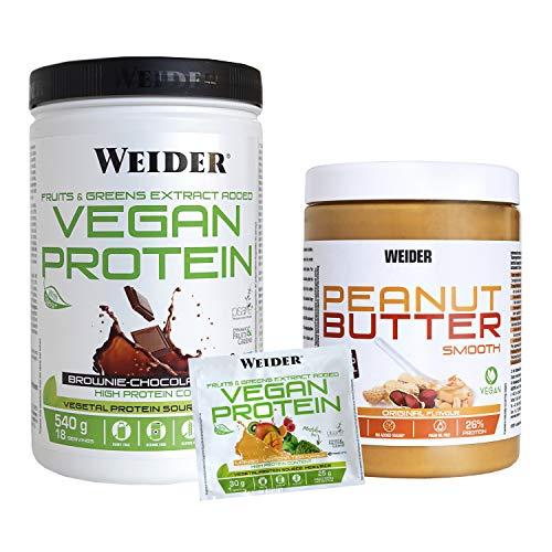Weider Vegan Protein 540G Choco + Peanut Butter 1 Kilo + 1 Muestra Magno Matcha 1600 ml