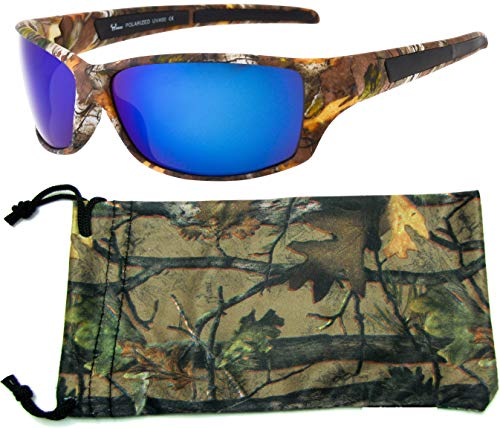 Hornz Brown Forest Camouflage Polarized Sunglasses for Men Full Frame & Free Matching Microfiber Pouch – Brown Camo Frame – Blue Lens