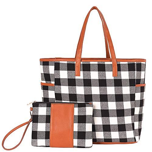 THOVSMOON 2Pc Red/White Buffalo Plaid Personalized Weekender Bag and Wristlet Set,Pretty Women's Shoulder Bag Travel bag Tote Bag Can Be Monogrammed(White Buffalo Plaid)
