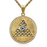 Lee Island Fashion Eye of Horus On Pyramid Egyptian Protection Pendant Stainless Steel Necklace For Men Boys, 24 Inch Chain Eye of Providence/ All-Seeing-Eye/Blue Evil Eye Jewelry