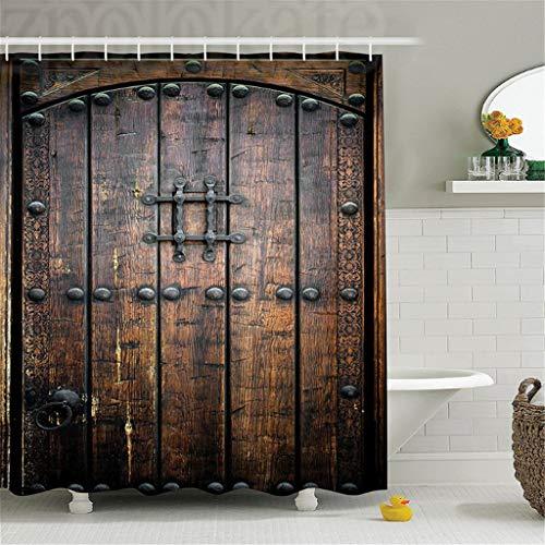 Cortinas De Baño Rústico Puerta De Madera Antigua Histórico Vintage Exterior Estructura Medieval Cuadro Artístico Poliéster Baño 150 (An) X180 (H) Cm