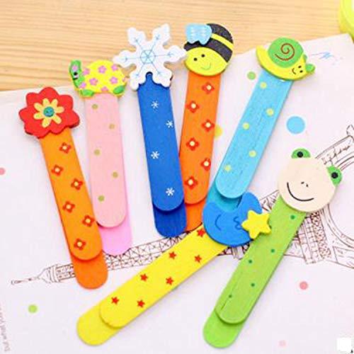Qiajie 20 pezzi Cartoon Segnalibro in legno Colorato Simpatici animali Segnalibri in legno con disegni a cartoni animati per bambini Studenti (Motivo casuale)