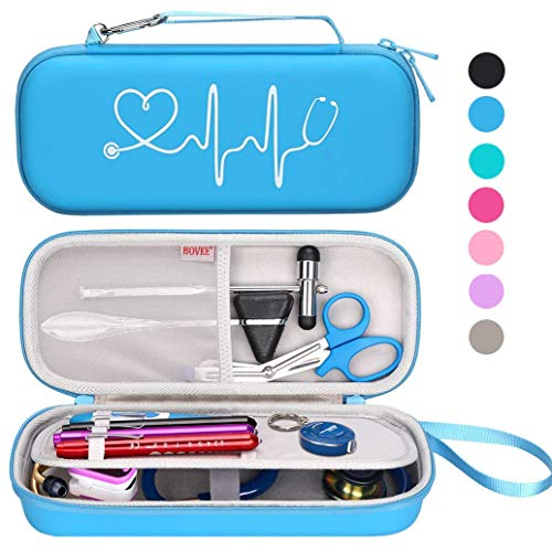 Bovke Stethoscope Carrying Case for 3M Classic III, Lightweight II S.E, Cardiology IV, MDF Acoustica Deluxe Stethoscopes - Extra Room fits Nurse Accessories Penlight EMT Medical Scissors, Turquoise