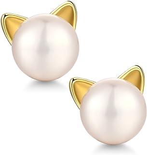 可爱猫耳钉 - 925 纯银淡水养殖猫珍珠耳钉,经典时尚猫耳钉,女式甜美猫耳钉,女孩