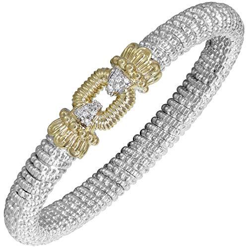 Round-cut Silver & Diamond 14K Gold Crown Bracelet