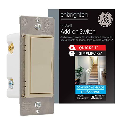GE Enbrighten Añadir QuickFit y SimpleWire, paleta de pared, Z-Wave ZigBee controles de iluminación inteligentes inalámbricos, no un interruptor estándar