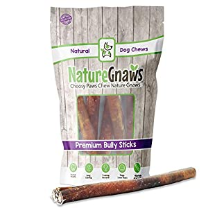 Nature Gnaws 12 inch Bully Sticks for Dogs – Premium Natural Tasty Beef Bones – Simple Long Lasting Dog Chew Treats – Rawhide Free