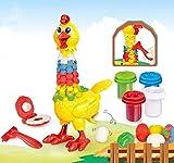 Juguete de barro de pollo de la diversión de la pluma para los niños, plastilina color arcilla diversión pluma pollo conjunto desarrollar juguetes intelectuales