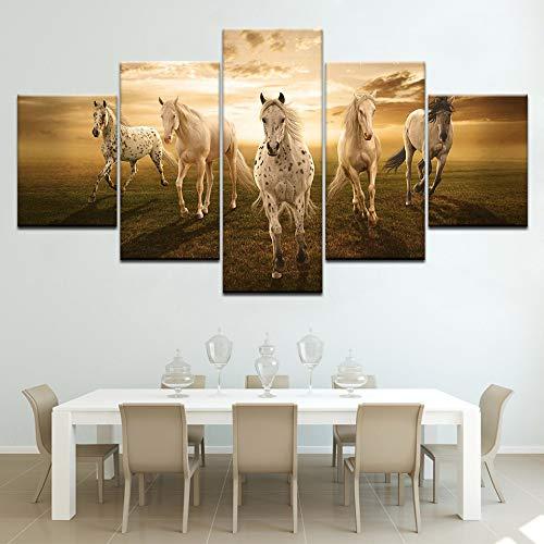 Zhuhuimin poster canvas schilderij HD muurkunst 5 planken dier paard modern printtype foto modulair kunstwerk retro hoofddecoratie L-30x40 30x60 30x80cm Geen lijst
