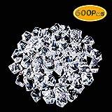 UPlama 600PCS Fake Crushed Ice Rocks, Acrylic Diamond Crystals Fake Diamonds Plastic Clear Ice Cubes Diamond Table Scatters Acrylic Gems for Vase Fillers Home Decoration Wedding Birthday (White)