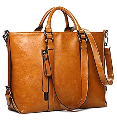 IYGO Leather Tote Bag for Women, Leather Top-Handle Shoulder HandBag Tote Bag Waterproof Crossbody Bag