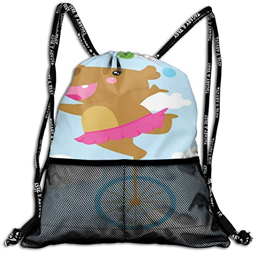 AZXGGV Drawstring Backpack Rucksack Shoulder Bags Gym Bag Sport Bag,Happy Balerina Hippo Juggling On Tightrope with Wheel Stunt Performance Cartoon