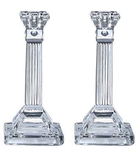 candelabros de cristal alto–2unidades–par de 8Inch Square Base diseño estriado portavelas–por Ner mitzvá