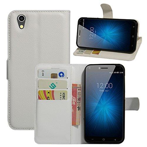 HualuBro UMIDIGI London Hülle, [All Aro& Schutz] Premium PU Leder Leather Wallet Handy Tasche Schutzhülle Hülle Flip Cover mit Karten Slot für UMIDIGI London 5.0 Inch 3G Smartphone (Weiß)
