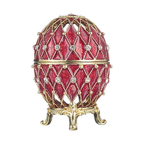 huevo ruso tallado de Estilo Faberge / caja de joya con rejilla 7,5 cm rojo