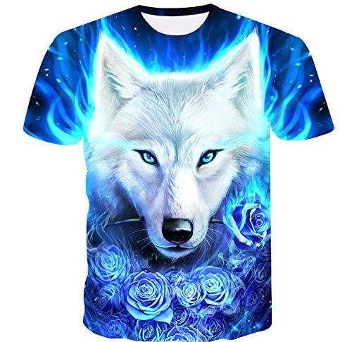 Animal Lobo Flor Azul Camiseta Divertida para Hombre con Estampado 3D De Manga Corta Gráfica Camisetas Tops Unisex,S