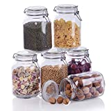 Amisglass Glass Jars With Airtight Lids, 6 Piece 1.6 Liter Mason Jars, Glass Jars With Leak Proof Rubber Gasket, Storage Jars With Hinged Lid for Home and Kitchen