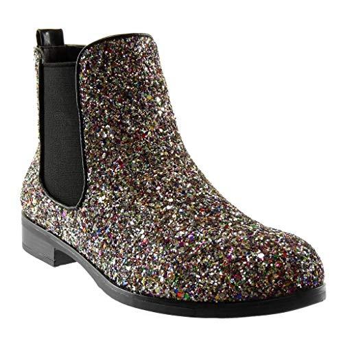 Angkorly - Damen Schuhe Stiefeletten - Slip-On - Chelsea Boots - Abend - Glitzer - glänzende - Flashy Blockabsatz 2.5 cm - Mehrfarbig YS475 T 36