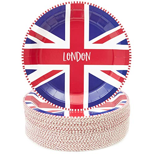 Sparkle en Bash UK Vlag Papier Ronde Platen, 80 Pack, 9 Inches