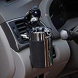 Anself Portable Cigar Cigarette Smokeless Carbon Fiber Car Ashtray with LED Light Cylinder