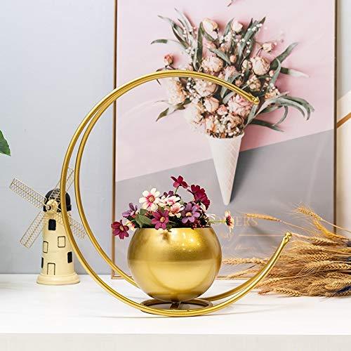 YURU Plant Stand,Creative European Style Wrought Iron Flower Stand, Indoor Flower Pot Rack Display Shelf Holds Outdoor Indoor Balcony,Gold-44x24.5x45cm
