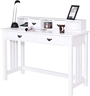 Giantex Writing Desk with 4 Drawers, Removable Floating Organizer 2-Tier Spacious Workstation Writing Study Table, Home Office Computer Desk Console Table, White