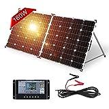 DOKIO Panel solar plegable de 160 W con regulador de carga solar PWM (2 puertos USB) para batería de 12 V, incluye bolsa de transporte, camping, adecuado para caravanas, barcos