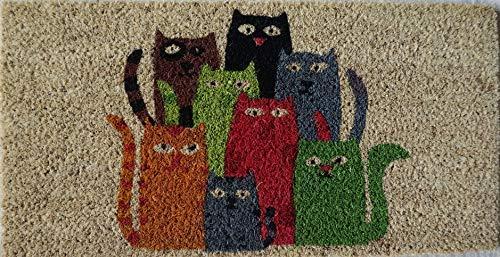 Fußmatte für den Eingangsbereich aus Kokosnuss mit Unterseite aus PVC, handbemalt acht farbige Katzen 50x25x 2 cm. Leicht zu reinigen und sehr langlebig