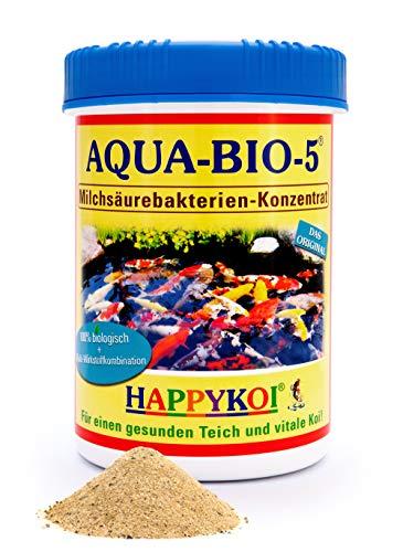Poudre d'acide lactique Aqua Bio 5 - Bactéries filtrantes probiotiques pour étang koï, étang et étang de jardin - Soutient la nitrification, réduit les algues et la boue - Protection complète pour carpes koï et étang - 1000 ml
