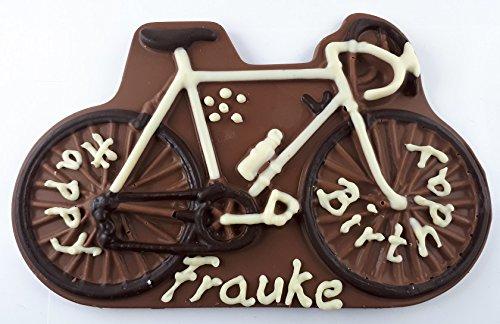 01#012522 Schokolade Fahrrad INCL BESCHRIFTUNG VOLLMILCH als Schokoladenplatte, Tortenverzierung, Schokolade, Torte