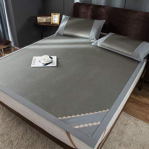 WOF Dreiteiliges Matten-Set 1,8 m Bett faltbar Doppel-EIS-Rattan-Matte Sommer-Weichmatte Eisseidenmatte saugfähig atmungsaktiv weich und bequem waschbar (Color : C, Size : 150CM X200cm)