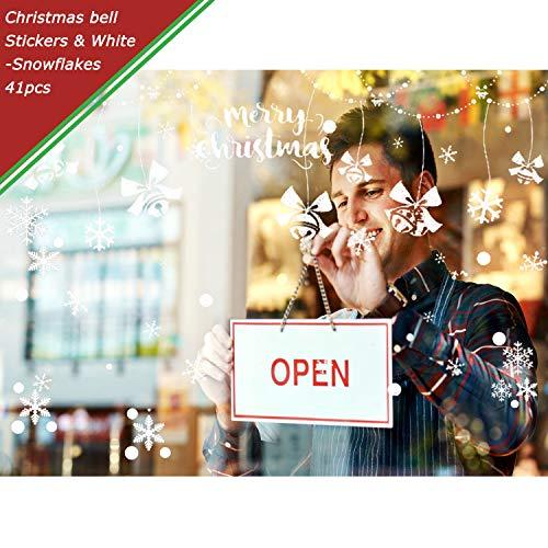 Weekend&Lifecan kerstdecoratie, vensterstickers, raamstickers voor Kerstmis, winterdecoratie, kerstversiering, raamdecoratie, kerstmis, sneeuwvlokken, raamafbeelding Klok + witte sneeuw