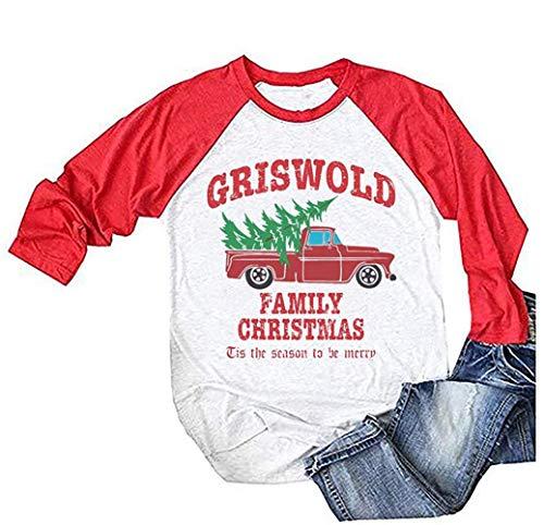 Griswold Familien-Weihnachts-Shirt für Damen, Baseball, Raglanärmel, Freizeit-T-Shirt - Weiß - XX-Large