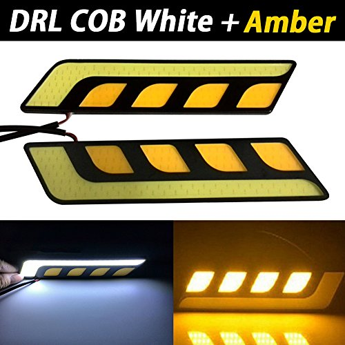 TABEN Double Couleur Blanc/Ambre Switchback étanche de Voiture 12 V à LED COB Lampes Haute Puissance DRL Brouillard Conduite Blanc Lampe (2pcs/Lot)