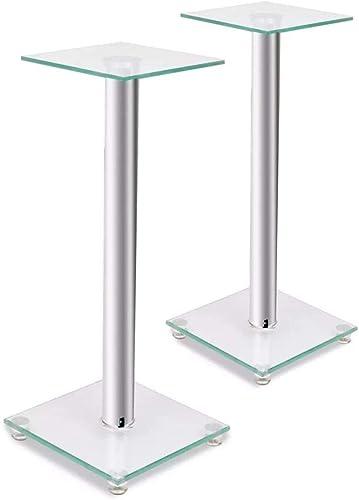 vidaXL 2X Glass Speaker Stand 58 cm Each with 1 Silver Pillar Holder Support