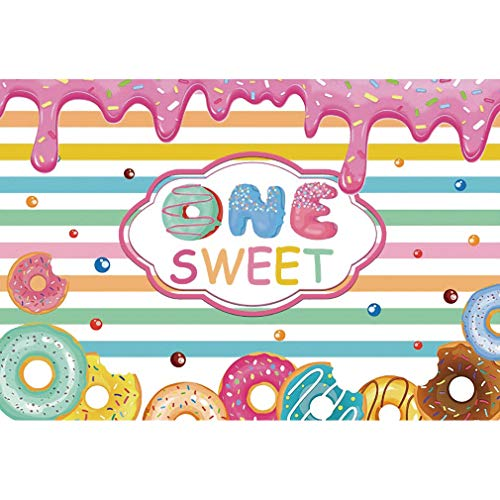 Leowefowa 2.5x1.8m Vinyl Backdrop One Sweet 1st Birthday Party Backdrop Baby Girl Sweet Donut Photo Background for Party Photo Shoots Newborn Baby Shower Kid Adult Studio Props Photography Backdrops