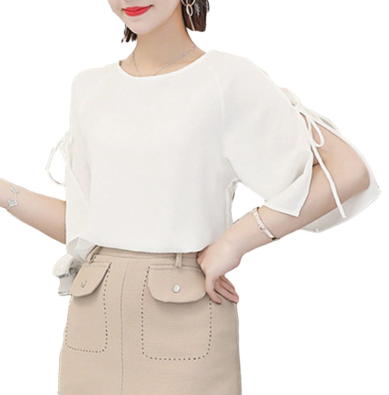 [美しいです] レディース ブラウス シャツ 春 夏 ショット丈 ゆったり上着 シフォン 短袖 フリル シースルー フォーマル