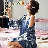 MTCDBD Kimono Mujer Bata Señoras, 2 Sexy Blue Robe Set Pijamas De Satén, Soft Cosy Loungewear Y Nightwear Albornoz, Amigos, Familiares Y Amantes, L