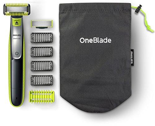 Philips OneBlade Pro Hybrid Rasierer & Bartschneider mit Kamm für 12 Längen (2-Kontaktstecker für Badezimmersteckdosen in Großbritannien)–Frustrationsfreie Verpackung–QP6510/30