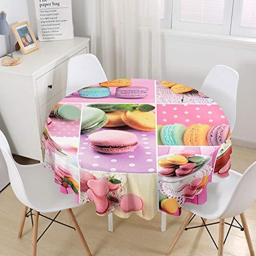 Himlaya Manteles Mesa Redonda, 3D Comida Gourmet Impresión Manteles Impermeable Mantelerias Antimanchas Mantel de Mesa para Salón Cocina Comedor Decoración (Macaron,180cm)