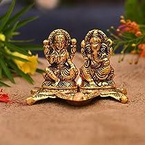Collectible India Lakshmi Laxmi Ganesh murti Idol Ganesha Diya puja Deepak – Metal Lakshmi Ganesh Statue – Diwali Home Decoration Items – Lakshmi Ganesh
