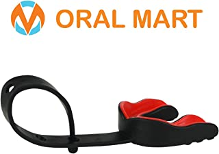 Oral Mart Sports Mouth Guard with Strap (4 Best Colors & USA Flag) (Football/Lacrosse/Ice Hockey) - Strapped Mouthguard for Football, Ice Hockey, Lacrosse, College Football (/w Vented Case)