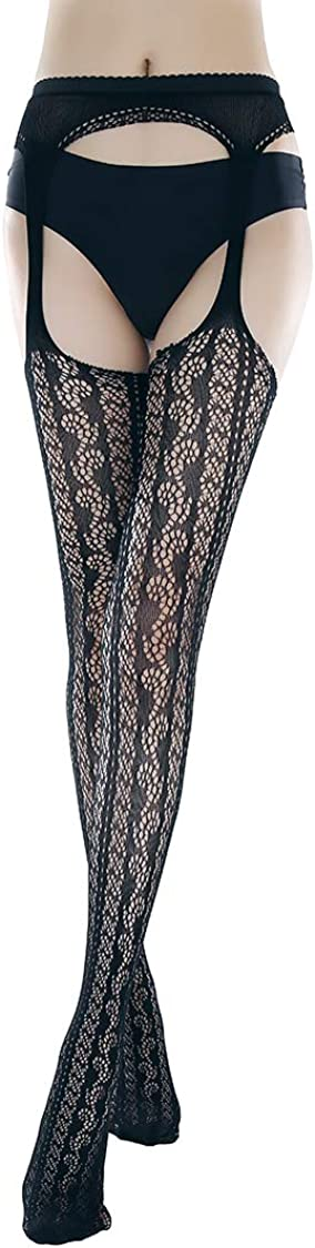 Teendi Womens Sexy High Waist Patterned Fishnet Tights Suspenders Pantyhose Lingerie Thigh High Stockings Black