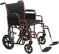 Drive Medical TR22-B Heavy Duty Transport Chair, 22 Inch, Blue/Black
