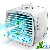 Portable Air Cooler,4-in-1 Mini Air Conditioner,Desk Fan,Humidifier and 7 Colors Night Lights with 3 Adjustable Wind Speeds Personal Evaporative Air Cooler, Suitable for Home Room Office Travel