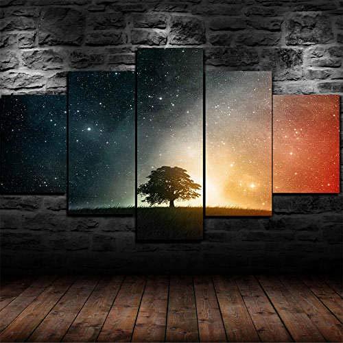 Cuadro Sobre Lienzo 5 Piezas Impresión En Lienzo Ancho: 150Cm, Altura: 100Cm Listo Para Colgar-Starry Night Árbol Cielo Estrellas En Un Marco