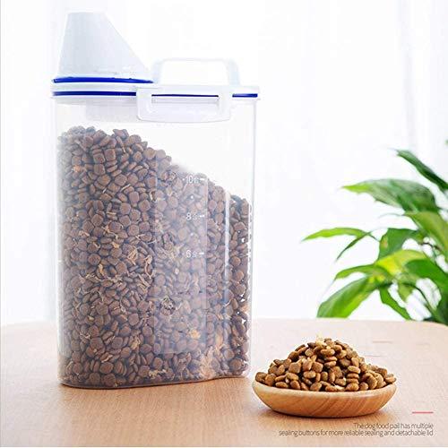 Contenedores de alimentos para mascotas Caja de contenedores para cereales transparente con taza de medición