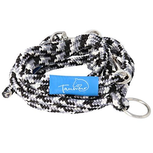 Taumur Sebrahestur - zweifach verstellbare Hunde-Tauleine - grau/schwarz/weiß - Leine für mittelgroße Hunde aus robustem PPM