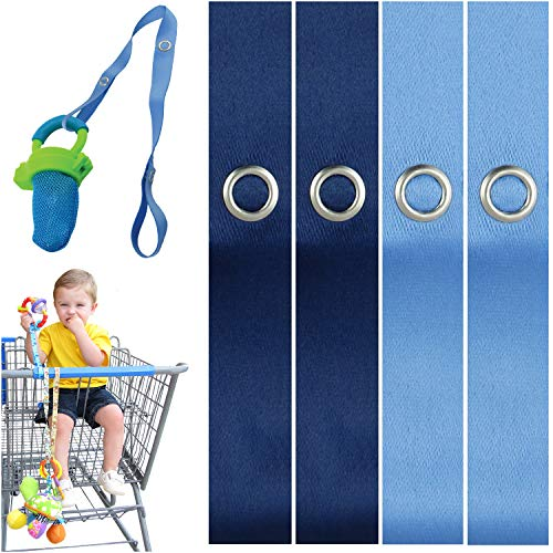 PBnJ baby Toy Saver Strap Holder Leash Secure Accessories Lt Blue/Navy - 4pc